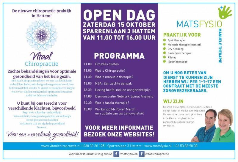 Open dag bij Matsfysio in Hattem op zaterdag 15 oktober 2016.